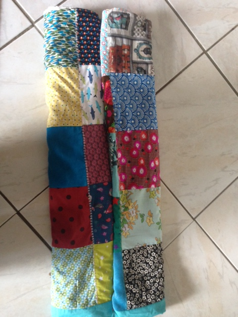 Couverture patchwork turquoise 3