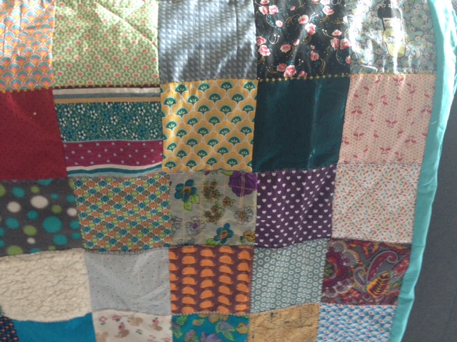 Couverture patchwork turquoise 4