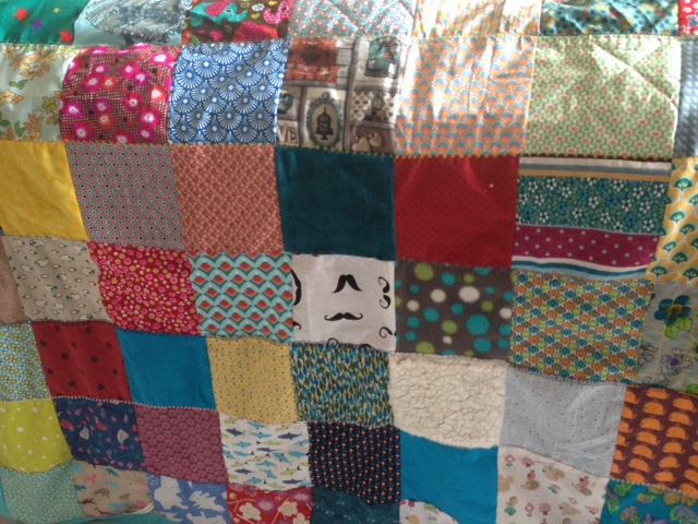 Couverture patchwork turquoise 5