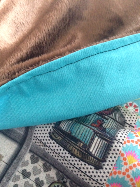 Couverture patchwork turquoise 6